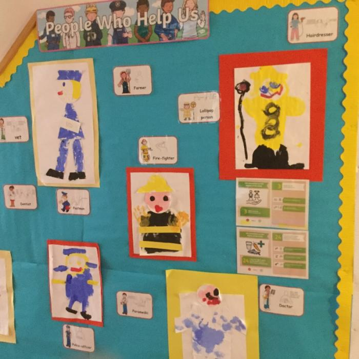 "A brilliant ""People who help us"" topic display  in Junior school highlighting relevant articles from the UNCRC!"