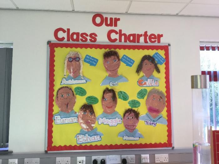 "Another super charter, showing pupil's own work and involvement in ""signing up"" to their class charter to promote rights for every child in school."
