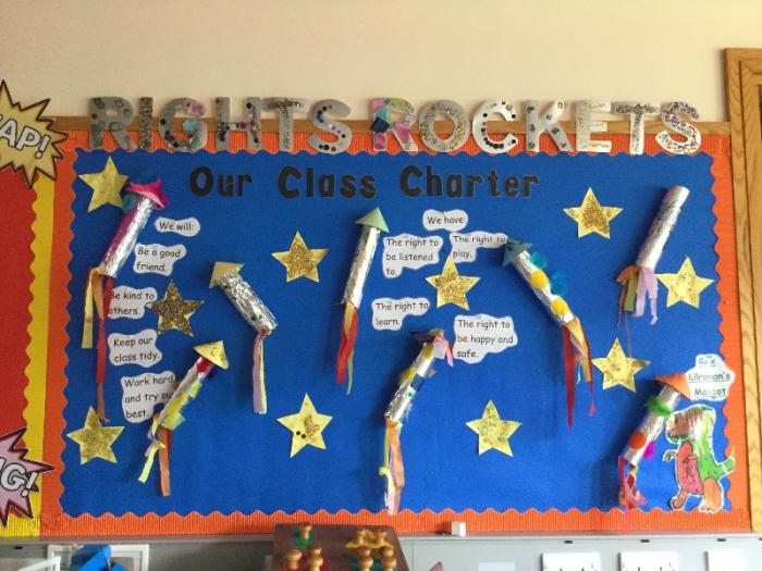 "One of the new charters in Junior school this term. Pupils have created a rocket themed charter with ""Rex""our Rights mascot on display also!"