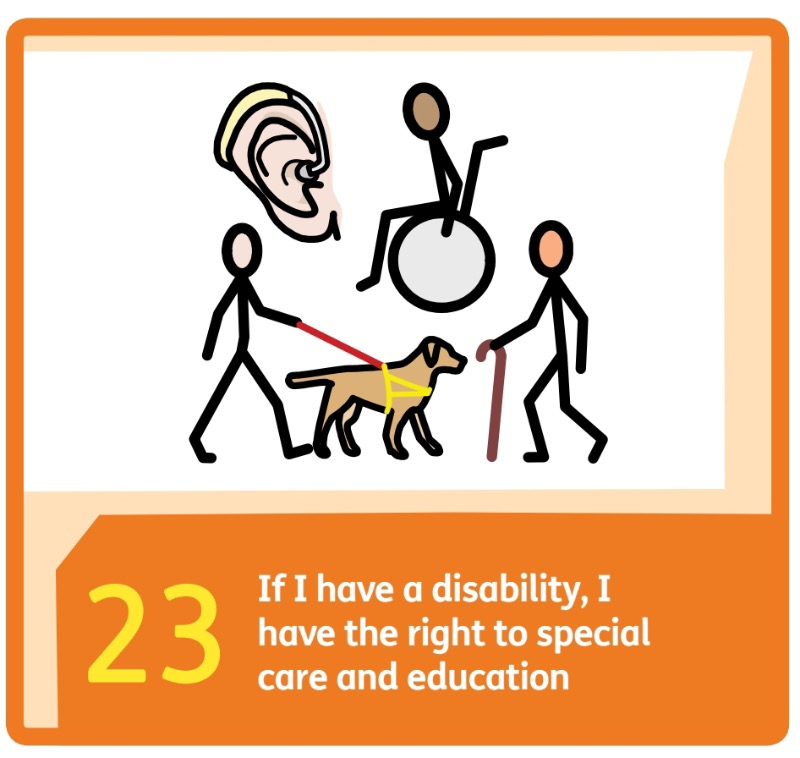 Article 23 UNCRC, we know that our Special educational needs must be met.