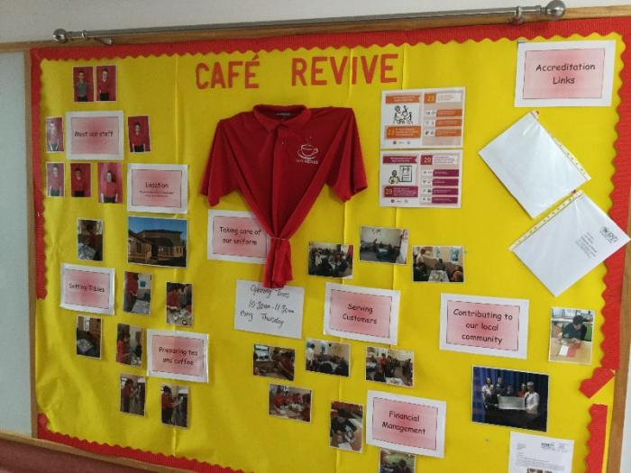 Our Cafe revive display board shows how are pupils benefit from this initiative and develop their full potential as active contributors to our local community.