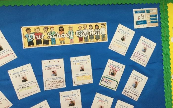 Our school council notice board keeps everyone up to date with who we are and we are doing