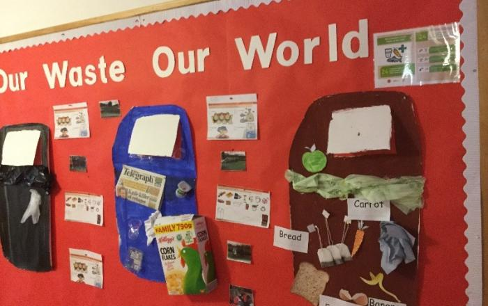 A fantastic display about recycling properly, highlighting article 29, as we learn that we have a right to learn about respecting our environment.